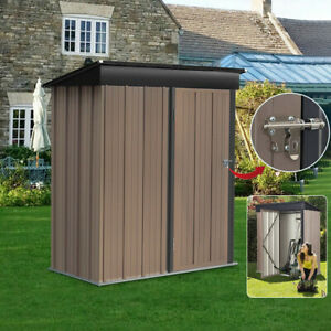 Garden Tools Shed Metal Cabinet Box Unit Tool Storage Shelves Roof Latched Door