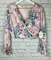 NWT ALTAR'D STATE Womens' Pink Floral Long Sleeve Cropped Shirt Small $59.95