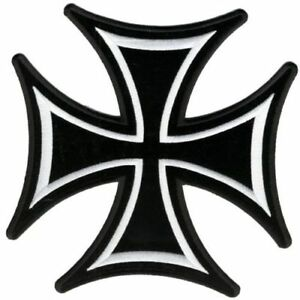 """Iron Cross Patch 8"""" Motorcycle Motorbike biker colourfast embroidered new Cotton"""