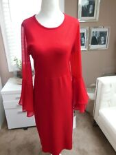 NWT Calvin Klein Red Sweater Dress w/Chiffon Fluted Bell Sleeve Size M  MSRP$134