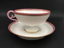 Tasse soucoupe porcelaine Limoges JEAN POUYAT XIXe / Antique large cup saucer