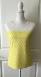 Ann Taylor Sleeveless Tank ~Blouse~Top~White & Yellow Flowers~XS~EUC
