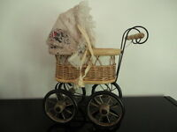 Antique Vintage Doll Carriage Cast Iron Wicker Wood Rubber Tires 10 inch w Doll