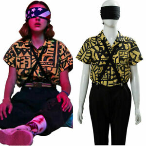 Stranger Things S3 Cosplay Costume Shirt 11 Suspenders Yellow Shirt Halloween UK