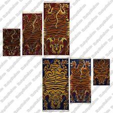 Tibetan Tiger Rug/Carpet: stripe orange skin pelt Nepal Tibet Nepali meditation