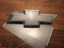 2 Silverado Dark Grey Carbon Fiber Universal Chevy Bowtie Vinyl Emblem Overlay