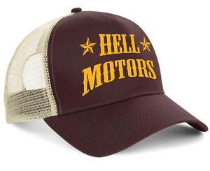 Hellmotors Trucker Cap Hotrod V8 racing Oldschool Biker Kappe Braun Rock n Roll