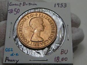 BU 1953 ONE PENNY Great Britain Elizabeth II.  #50