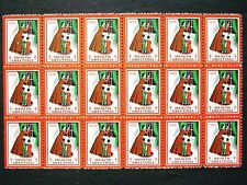US,1938 Christmas Seal Printer Mark Block of 18 & Constant Flaws, WX93, MNH