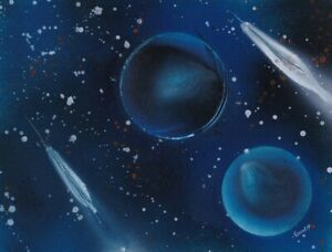 Cosmic Painting of blue colored planets in a star filled galaxy by Jason Girard