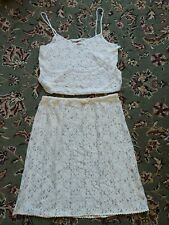 Vintage Evan Picone 2 piece white lace Slip And Camisole