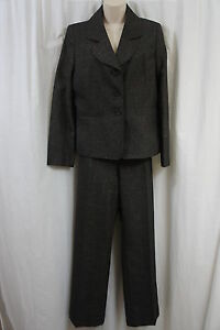"""Suit Studio Pant Suit Sz 12 Brown Gold """"Classic Beauty"""" Business Career Cocktail"""