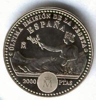 Juan Carlos 1º. 2000 Pesetas Plata  2001 Ultima peseta