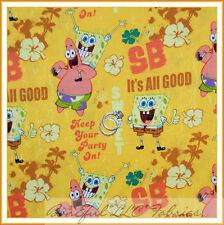 BonEful Fabric FQ Cotton Quilt VTG Sponge Bob Patrick Nick Jr TV Flower Boy Girl