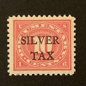 U2/7 US Stamp revenue BOB Silver Tax OVPT Scott #RG7 10c MNHOG Shining Gum Great