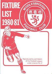 MIDDLESBROUGH FIXTURE CARD LIST 1980/81