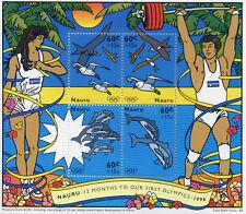 Nauru 1995 MNH First Olympics 1996 4v M/S Dolphins Gulls Birds Stamps
