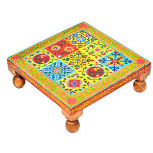 Multi Color Chaurang Bajot Chowki Patli Pooja Small Table Stool for Daily Prayer
