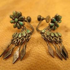 VINTAGE Native American ZUNI PETIT POINT TURQUOISE STERLING Screw back EARRINGS