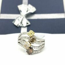 18k White Gold Natural Multi-color(yellow, Champagne) Diamond Ring