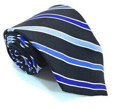 "Chaps Boys Tie Necktie 100% Silk 51"" 3"" USA Striped Black Navy Blue Air Force"