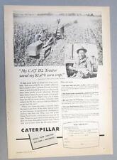 Original 1954 Caterpillar D2 Ad Photo Endorsed Karl Tellman Columbus Indiana