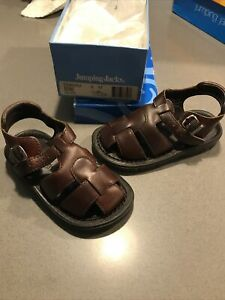 Jumping Jacks Shoes Kids Boys Toddler Sandals Size 8 M Brown Leather
