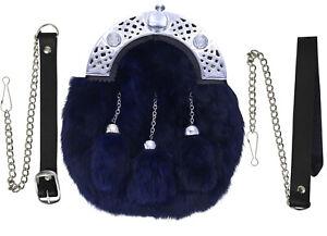 Scottish Kilt Sporran Full Dress Navy Blue Fur Celtic Knot Chrome Cantel Chain