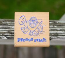 Please Rush Running Turtle Tortoise Sneakers Shoes Wood Mounted Rubber Stamp