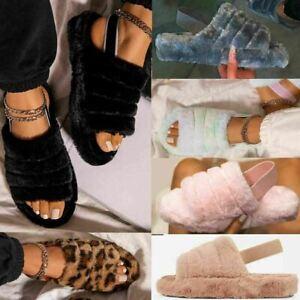 Women Girls Fluffy Sliders Slippers Faux Fur Slip On Flant Sandals Shoes