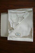 VINTAGE VICTORY Linen Tea Set of Embroidered Tablecloth, 4 Napkins
