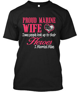 Teespring Proud Marine Wife Classic T-Shirt - 100% Cotton By Jimmy Spo