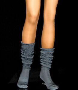 12 Charcoal Slouch Knee Scrunchie Socks Hooters Uniform school soccer long Flaws