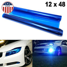 Glossy Dark Blue Tint Vinyl Film Overlay Wrap Sheet for Headlight Fog Lamp 12x48