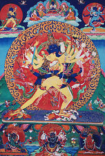 "32"" BLESSED SILK BROCADED WOOD SCROLL TIBETAN THANGKA! KALACHAKRA, LORD OF TIME="