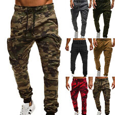 Men's Camouflage Cargo Combat Trousers Gym Sport Track Camo Sweat Tactical Pants