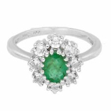 Sterling Silver Emerald & Simulated Diamond Cluster Ring (Size N)