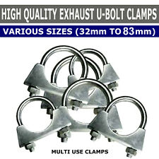 Universal U Bolt Exhaust Clamps, Heavy Duty Clamp with Nuts All Sizes 32 - 83mm