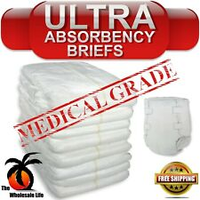 Adult 80 Disposable Heavy Absorbency Size M Medium Briefs Diapers Tab Closure