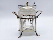 More details for antique art deco glass preserve conserve pot lidded silver plate stand