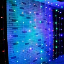 600 LED Fairy Curtain Window Hanging Backdrop Wall Lights Wedding Party UK -6x3M