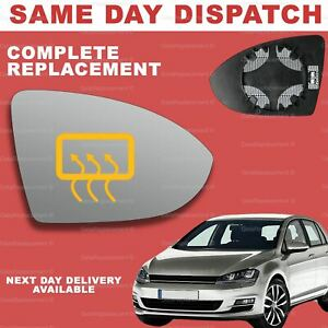 VW Golf mk7 2013-2020 wing mirror glass for Right Driver Side Heated
