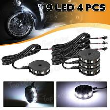 4) White Color LED Motorcycle Axle Wheel Pod Accent Light Kit Rim Center Glow