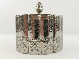 Indian Ethnic Engraved Metal Tea Caddy Not Silver Boho