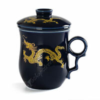 270ml Golden Dragon Ceramic Blue Porcelain Tea Cup Coffee Mug lid Infuser Filter