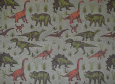 ADVENTURE DINOSAUR PRINT ON GREY CORD CORDUROY 100% COTTON 11 WALE FABRIC