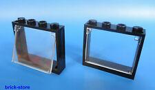 LEGO® Fenster  1x4x3 Rahmen schwarz / mit glaseinsatz transparent klar / 2 Stück