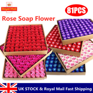 81Pcs Scented Rose Flower Floral Petal Bath Body Foot Soap Wedding Party Gift UK