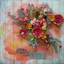 """Handmade Mixed Media 12"""" x 12"""" Scrapbook Page - You make me Smile"""