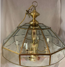Vintage Brass & Etched Glass Panel 7 bulb chandelier with Flower Bird Design